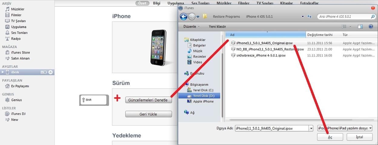 iphone manuel yazılım yükleme